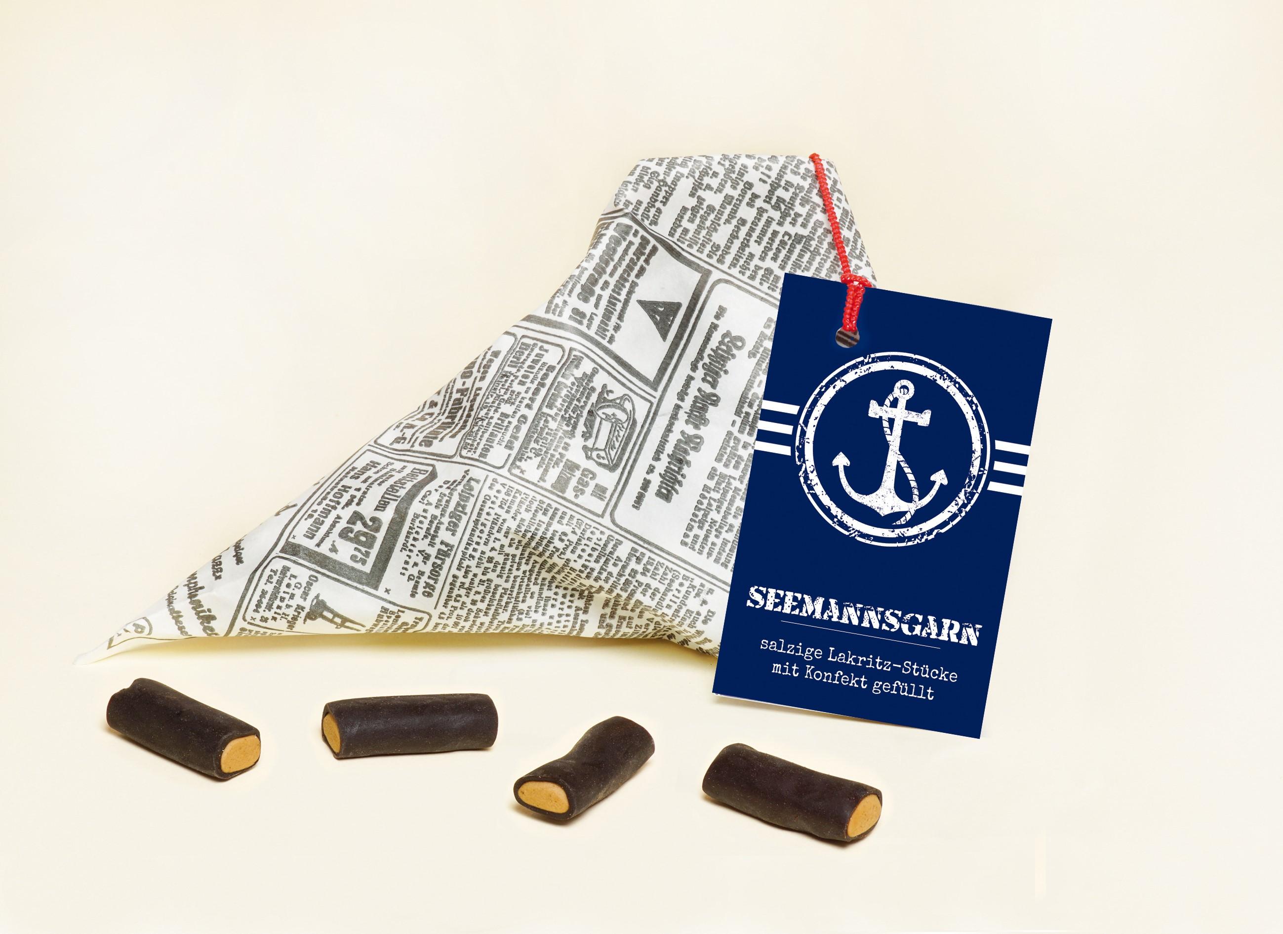 Seemannsgarn salzige Lakritz-Stücke mit Konfekt gefüllt